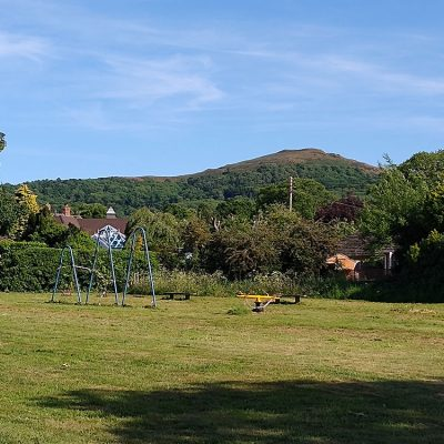 The Britsh Camp Hill as seen from across the village green